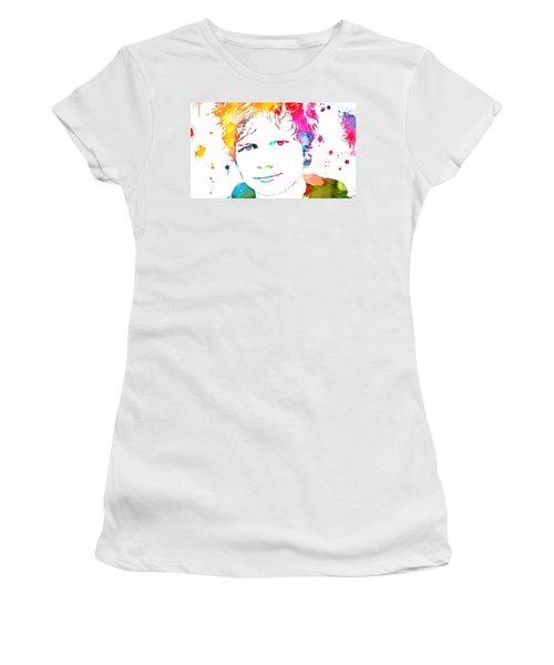 Ed Sheeran Paint Splatter Women's T-Shirt (Junior Cut) by Dan Sproul