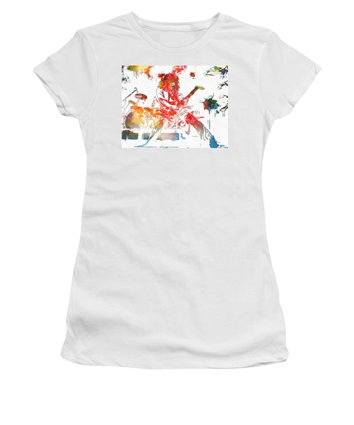 Eddie Van Halen Paint Splatter Women's T-Shirt (Junior Cut) by Dan Sproul
