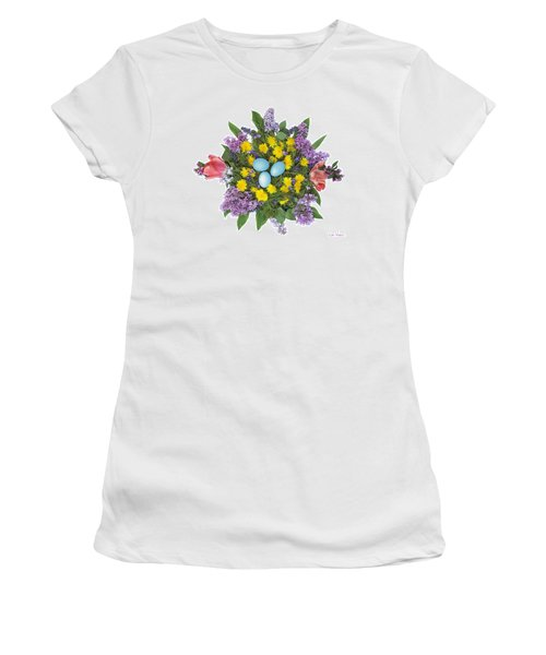 Eggs In Dandelions, Lilacs, Violets And Tulips Women's T-Shirt (Junior Cut) by Lise Winne