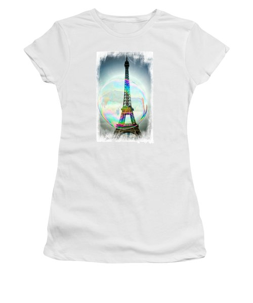 Eiffel Tower Bubble Women's T-Shirt (Athletic Fit)
