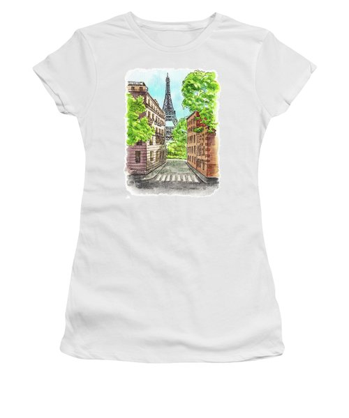 Women's T-Shirt (Athletic Fit) featuring the painting Eiffel Tower Summer Paris Day by Irina Sztukowski
