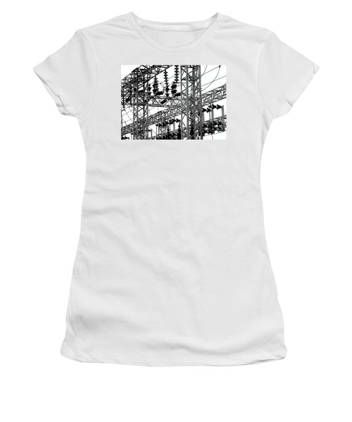 Women's T-Shirt (Athletic Fit) featuring the photograph Electrical Substation With Large Insulators by Yali Shi