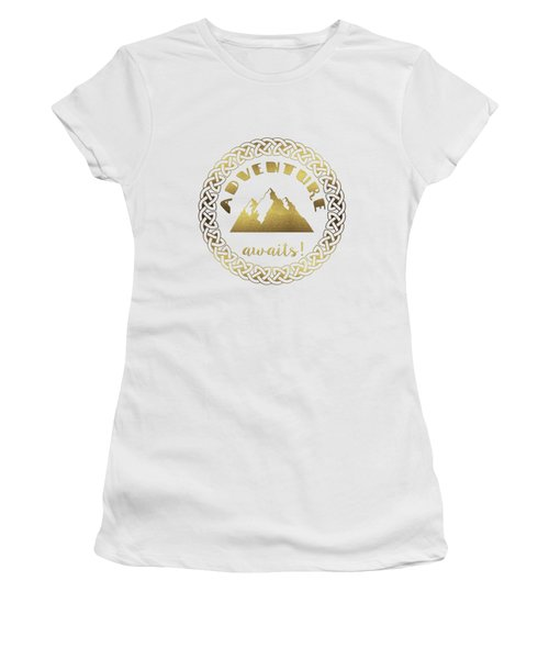 Elegant Gold Foil Adventure Awaits Typography Celtic Knot Women's T-Shirt