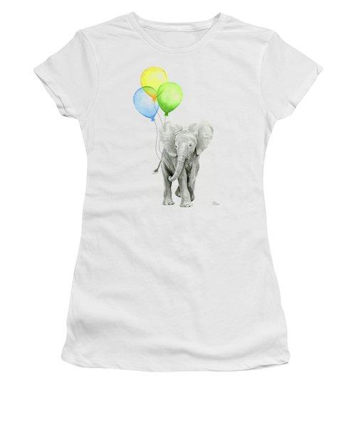 Elephant Watercolor Baby Animal Nursery Art Women's T-Shirt (Athletic Fit)