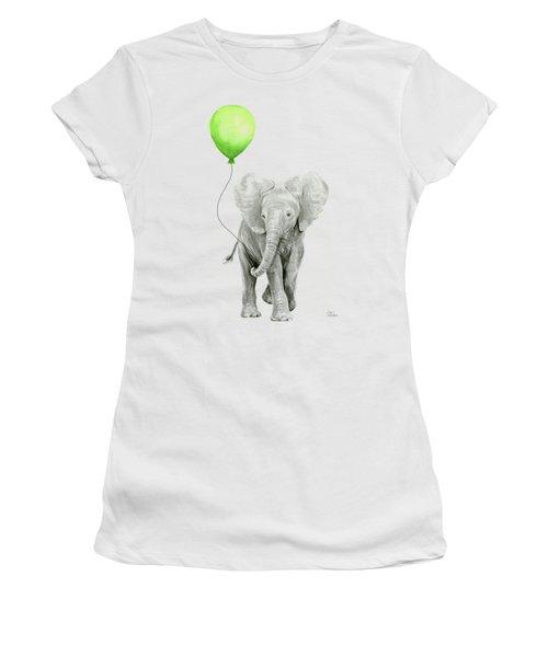 Elephant Watercolor Green Balloon Kids Room Art  Women's T-Shirt
