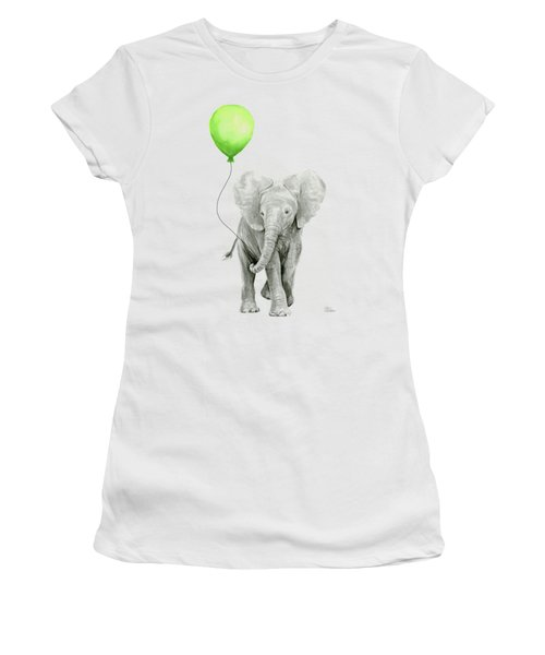 Elephant Watercolor Green Balloon Kids Room Art  Women's T-Shirt