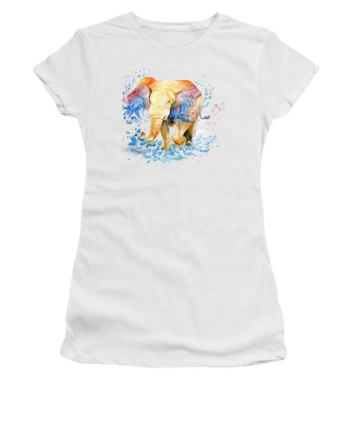 Elephant Watercolor Women's T-Shirt (Junior Cut) by Melly Terpening