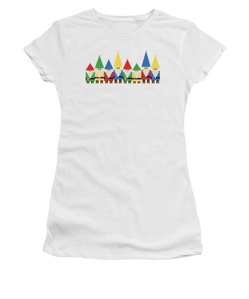 Elves On White Women's T-Shirt (Athletic Fit)