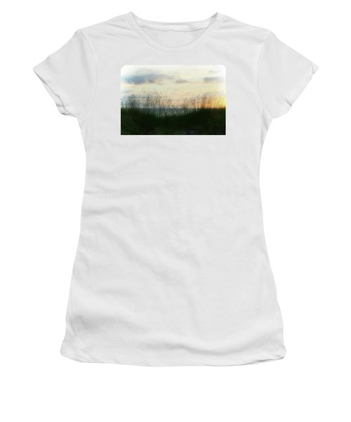 Women's T-Shirt (Athletic Fit) featuring the photograph End Of Day At Pentwater by Michelle Calkins