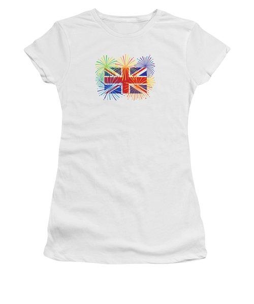 England Jack Union Flag Fireworks Illustrationing Evening Blu Women's T-Shirt