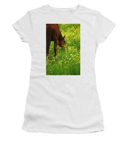 Women's T-Shirt (Junior Cut) featuring the photograph Enjoying The Wildflowers by Karol Livote