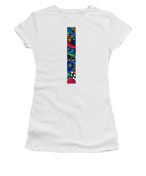 Colorful Abstract Art Painting, Modern Art Brown Eye Art Paintings Women's T-Shirt