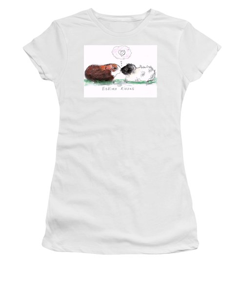 Women's T-Shirt (Junior Cut) featuring the drawing Eskimo Kisses by Denise Fulmer