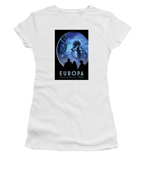 Europa Discover Life Under The Ice - Nasa Vintage Poster Women's T-Shirt (Athletic Fit)