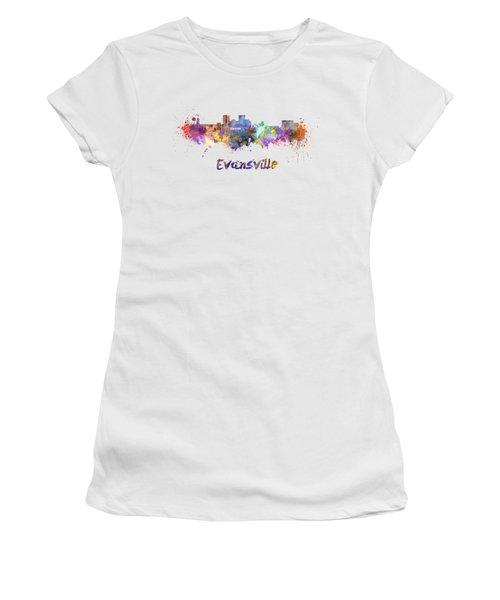 Evansville Skyline In Watercolor  Women's T-Shirt