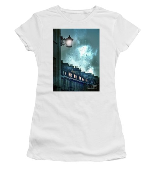 Women's T-Shirt (Junior Cut) featuring the photograph Evening Rainstorm In The City by Jill Battaglia