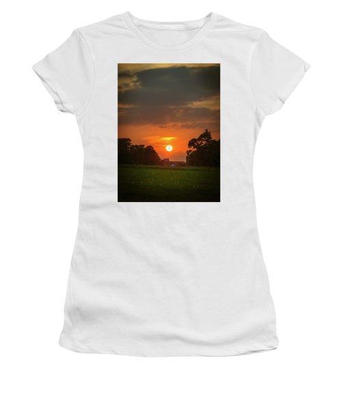 Women's T-Shirt (Junior Cut) featuring the photograph Evening Sun Over Picnic by Lenny Carter