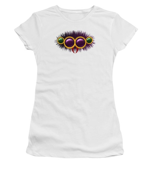 Women's T-Shirt (Junior Cut) featuring the digital art Eyes Of The Huge Hairy Spider by Michal Boubin