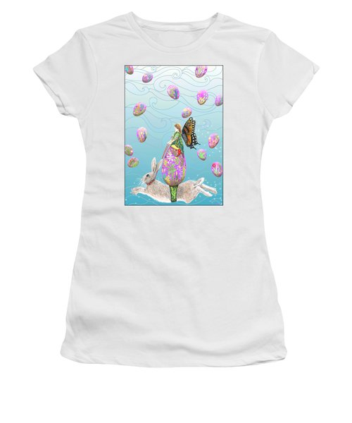 Women's T-Shirt (Athletic Fit) featuring the mixed media Fairy Riding An Egg And Easter Bunny by Lise Winne
