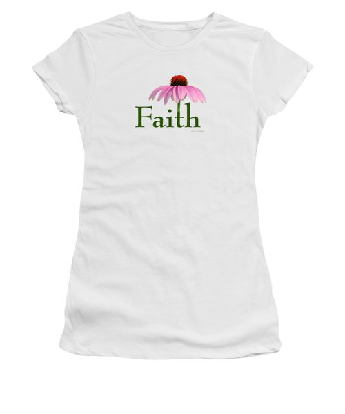 Women's T-Shirt (Junior Cut) featuring the digital art Faith Coneflower Shirt by Ann Lauwers