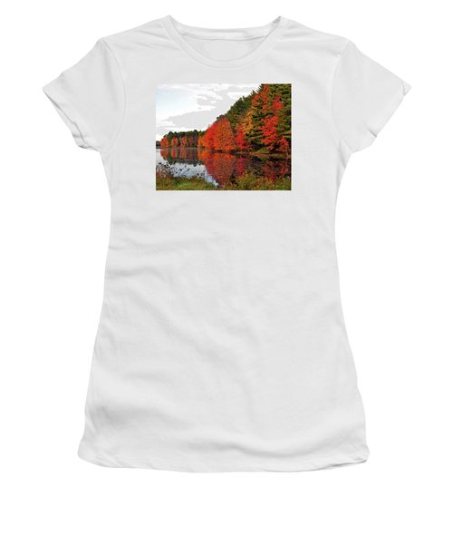 Fall Colors In Madbury Nh Women's T-Shirt (Junior Cut) by Nancy Landry