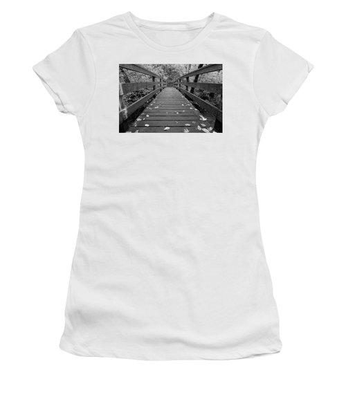 Women's T-Shirt (Junior Cut) featuring the photograph Fall In Oregon Bw by Jonathan Davison