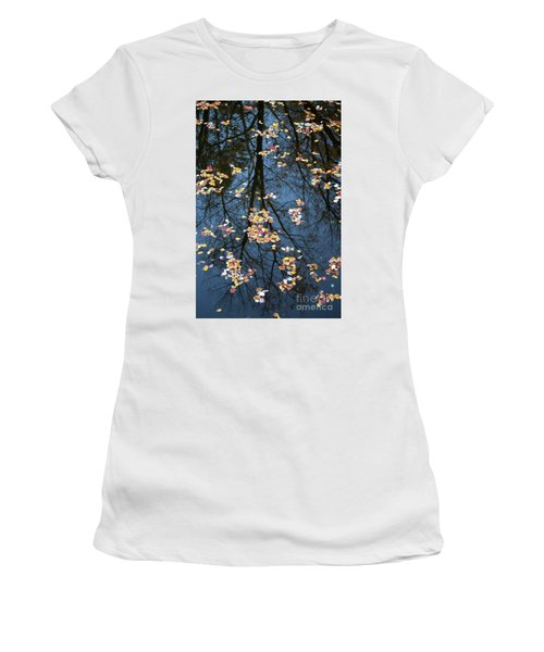 Fallen Leaves In Autumn Lake Women's T-Shirt (Athletic Fit)