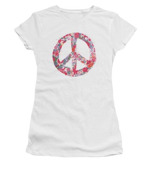 Far Too Pretty Peace Symbol #1 Women's T-Shirt (Junior Cut) by Nola Lee Kelsey
