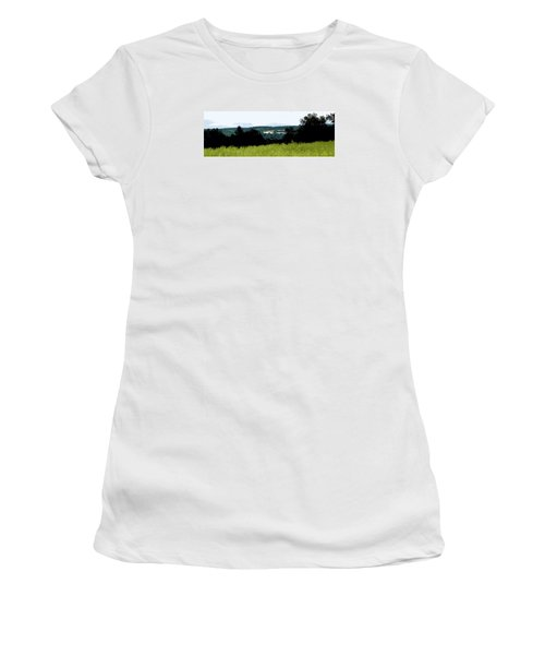 Women's T-Shirt (Junior Cut) featuring the photograph Farm In The Valley by Spyder Webb
