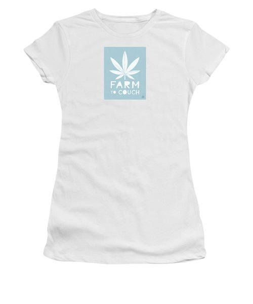 Women's T-Shirt featuring the mixed media Farm To Couch Blue- Cannabis Art By Linda Woods by Linda Woods