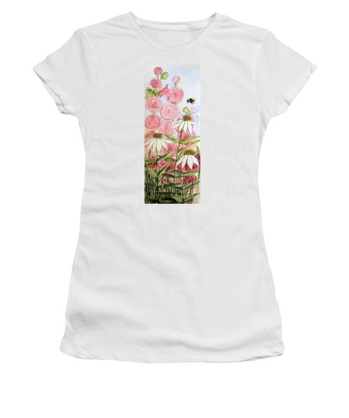 Women's T-Shirt (Junior Cut) featuring the painting Farmhouse Garden by Laurie Rohner