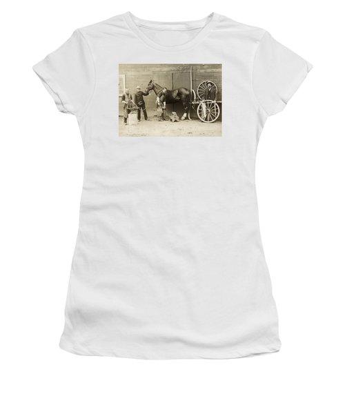 Farrier Shoeing A Horse Women's T-Shirt