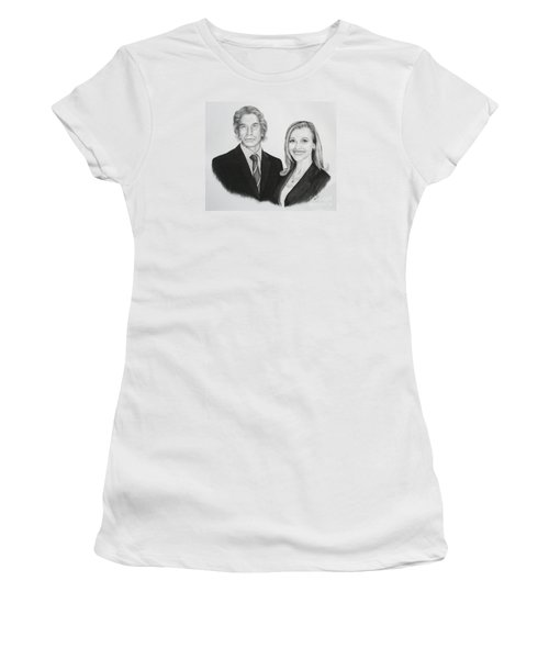 Women's T-Shirt (Junior Cut) featuring the drawing Father And Daughter by Mike Ivey