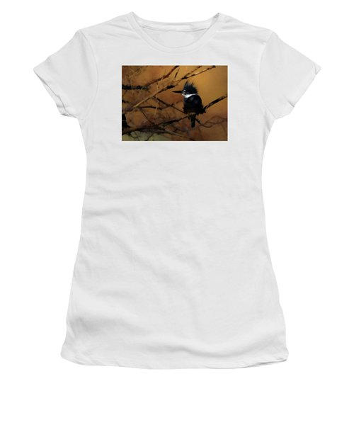 Women's T-Shirt (Junior Cut) featuring the digital art Female Belted Kingfisher 2 by Ernie Echols