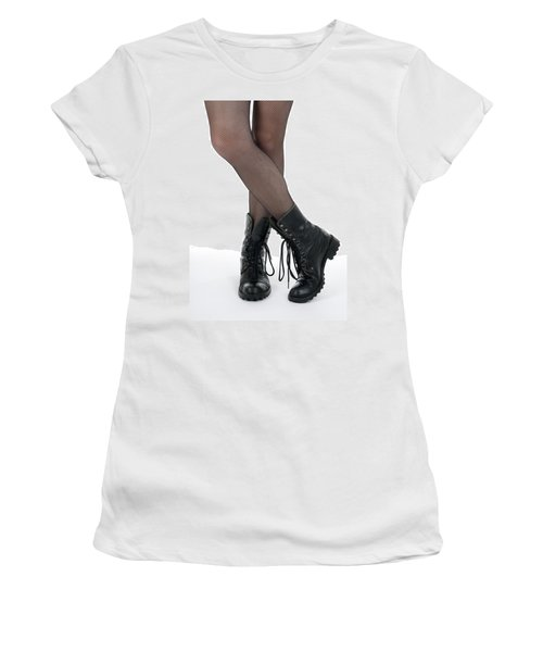 Female Legs In Pantyhose And Black Boots Women's T-Shirt