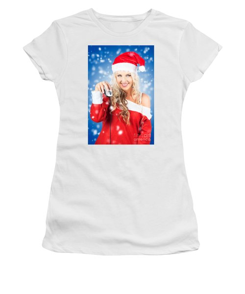 Female Santa Claus Christmas Shopping Online Women's T-Shirt