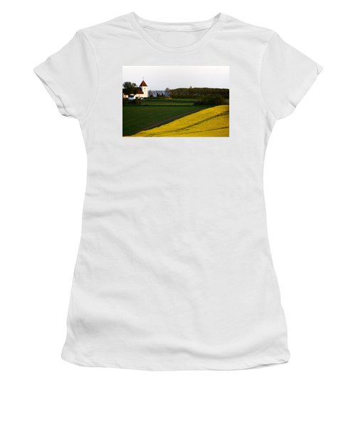Femoe Fields And Church Women's T-Shirt (Junior Cut) by Eric Nielsen