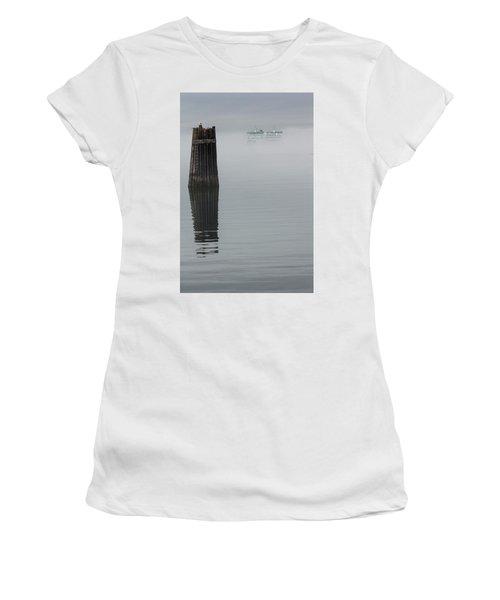 Ferry Hiding In The Fog Women's T-Shirt (Junior Cut) by Tony Locke