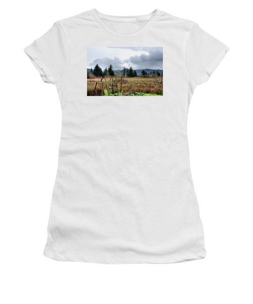 Field, Clouds, Distant Foggy Hills Women's T-Shirt