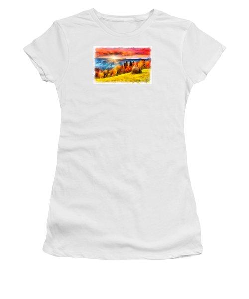 Field Of Autumn Haze Painting Women's T-Shirt