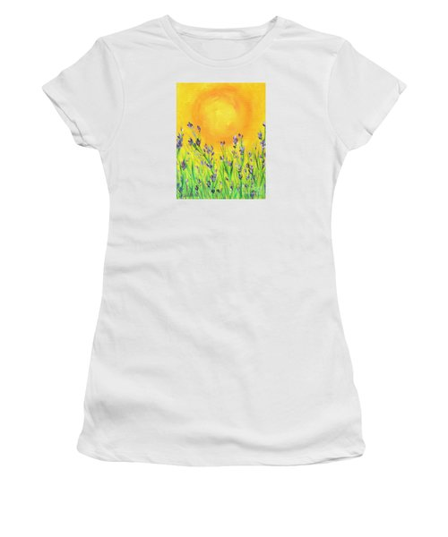 Women's T-Shirt (Junior Cut) featuring the painting Field Sunset by Val Miller