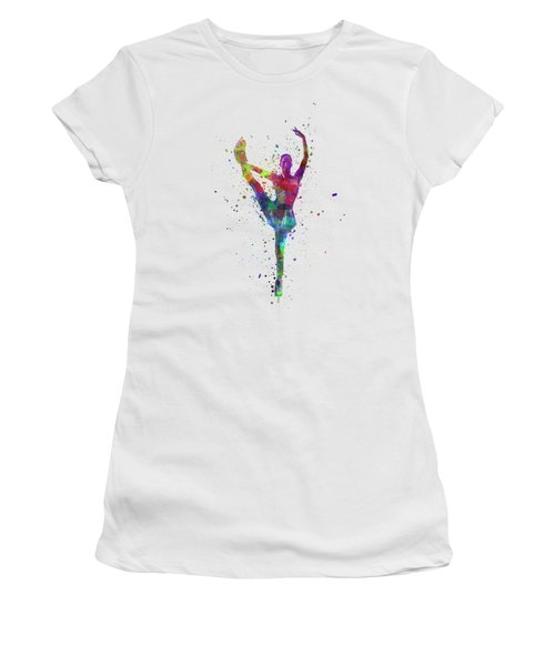 Figure Skating 3 In Watercolor With Splatters Women's T-Shirt