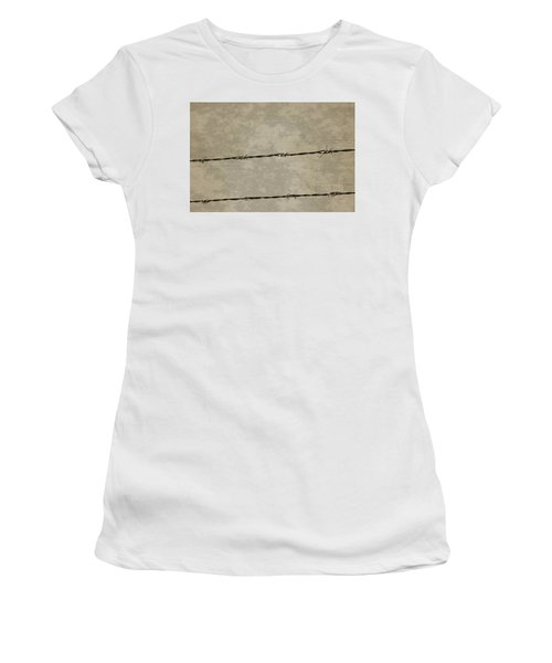 Fine Art Photograph Barbed Wire Over Vintage News Print Breaking Out  Women's T-Shirt (Athletic Fit)