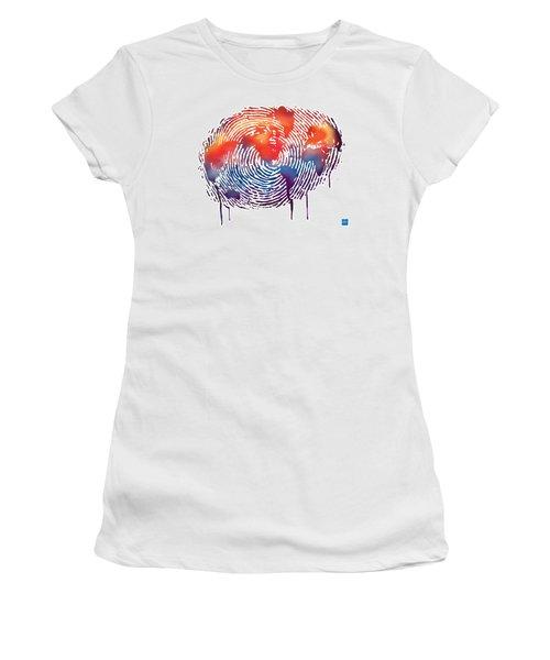 Finger Print Map Of The World Women's T-Shirt