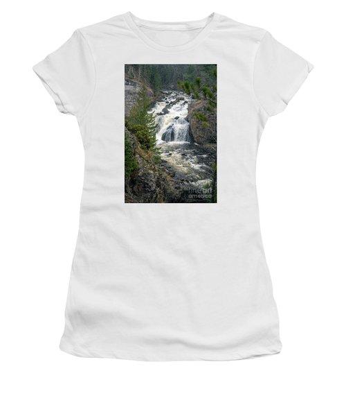 Firehole Falls Women's T-Shirt (Junior Cut) by Cindy Murphy - NightVisions