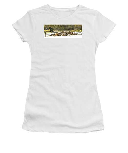 Women's T-Shirt (Junior Cut) featuring the photograph  Floyd Snyder by Firewood in the Snow at Fort Tejon