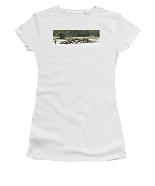 Women's T-Shirt (Junior Cut) featuring the photograph Firewood In The Snow At Fort Tejon by Floyd Snyder