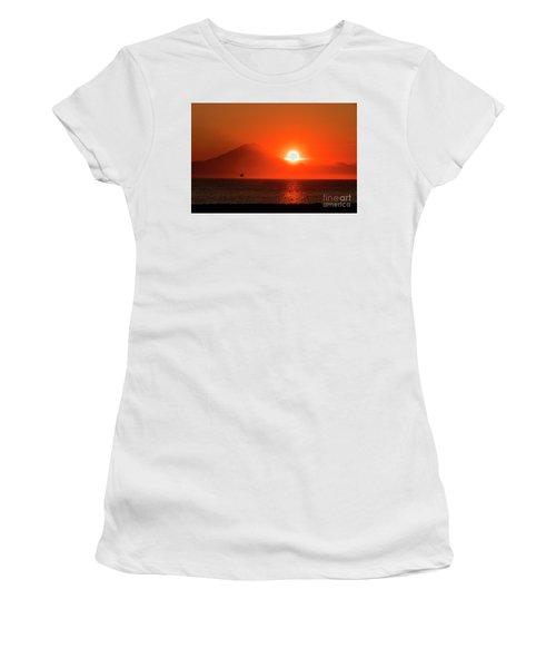 Firey Sunset On Mt Redoubt Volcano Alaska Women's T-Shirt (Athletic Fit)