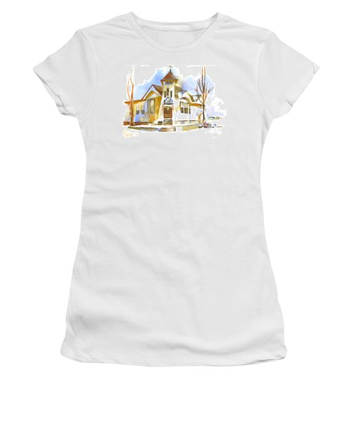 Women's T-Shirt (Junior Cut) featuring the painting First Baptist Church In Winter by Kip DeVore