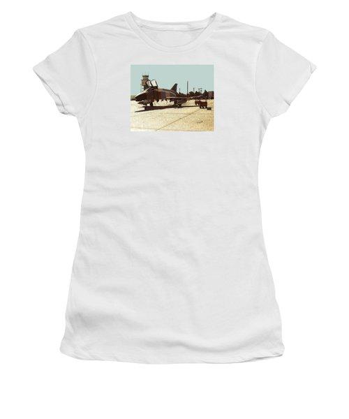 Women's T-Shirt (Junior Cut) featuring the digital art First Jet by Walter Chamberlain